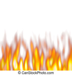 Hot Firey Flames - hot flames over white background