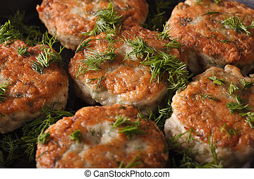 Hot fish cakes with dill macro. Horizontal background