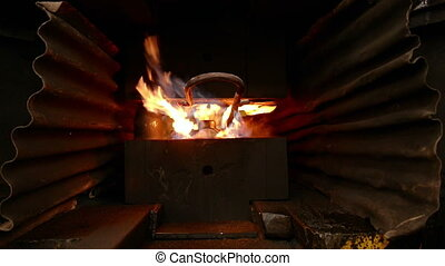 Hot flame burning inside furnace