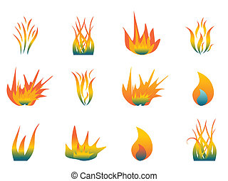 Hot flames - Various hot flames on white