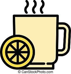 Hot flu lemon tea icon, outline style