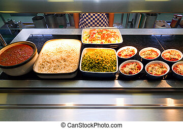 Hot food serving counter - A hot food serving counter in a...