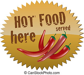 Hot food sign - Star-shaped sign with red chili peppers and...