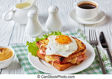 hot french toasts croque madame, close-up