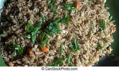 hot fried rice with vegetables