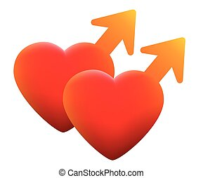 Hot Gay Love Symbol Two Homosexual Hearts