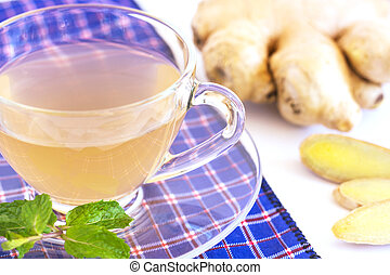 Hot Ginger tea concept, top view with copy space