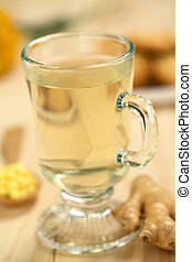 Hot Ginger Tea - Freshly prepared hot ginger tea made of...