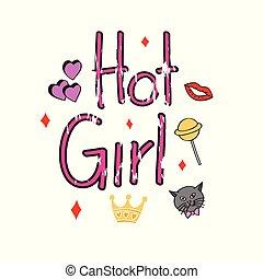 Hot girl illustration for t shirt design