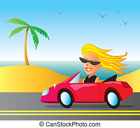 Blond woman cruising in a red convertible at the beach.