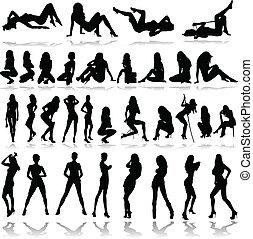 hot girls illustration vector silho