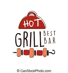 Hot grill best bar logo template hand drawn colorful vector Illustration