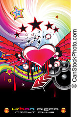 Valentine' s Day Music Event Backgruond for Disco Flyers