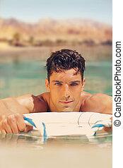 Hot guy in pool