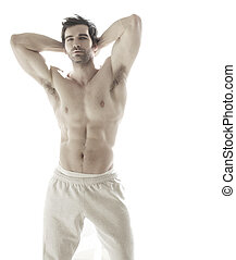 Hot guy - Sexy portrait of a very muscular shirtless male...