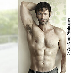Hot guy with abs - Inspiring sensual portrait of a sexy male...