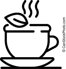 Hot herbal tea cup icon, outline style
