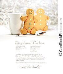 Hot holiday drink with gingerbread cookies on festive...
