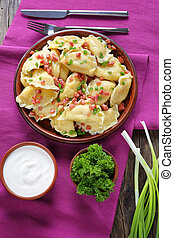 hot homemade dumplings on a plate