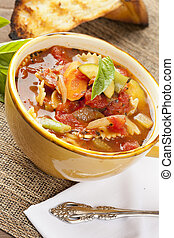 Hot Homemade Minestrone Soup with fresh vegetables