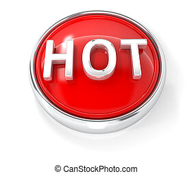 Hot icon on glossy red round button