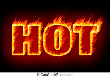 hot in flames - An image of the word hot in flames