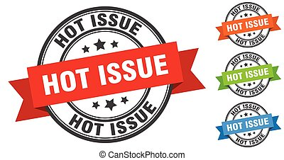 hot issue stamp. round band sign set. label