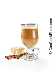 Hot latte in glass isolated on white background