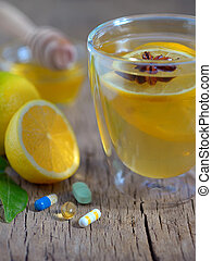Hot lemon tea and pills