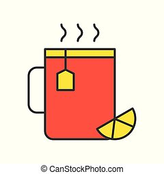 Hot lemon tea, Food set, filled outline icon