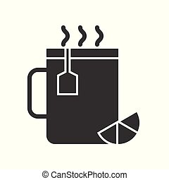 hot lemon tea in cup, food and beverage set, glyph design icon
