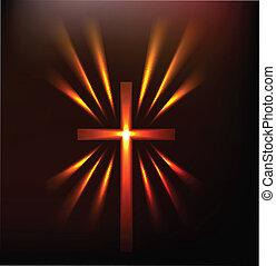 Hot light of the cross vector