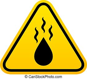 Hot liquid vector caution sign isolated on white background