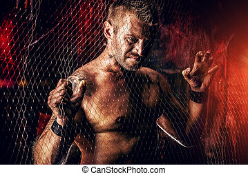 hot man - Handsome muscular man in the old garage.