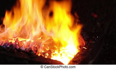Hot Metal in a Blacksmith Forge