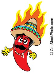 Hot Mexican chilli - isolated illustration.