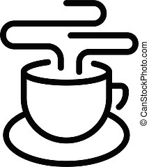 Hot morning tea cup icon, outline style