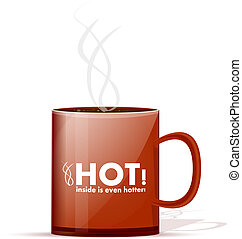 Hot mug - Red mug with the hot drink, isolated on a white...