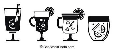 Hot mulled wine icon set, simple style