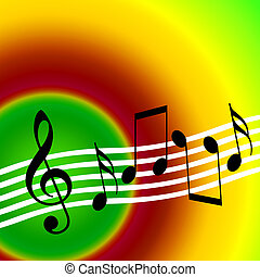 Warm color musical background with random notes and treble clef