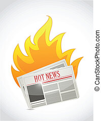 hot news. newspaper on fire illustration