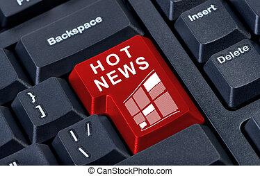 Hot news red button computer keyboard.
