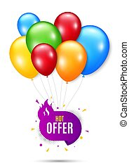 Hot offer badge. Discount banner shape. Vector