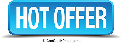 Hot offer blue 3d realistic square isolated button