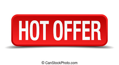 Hot offer red 3d square button on white background