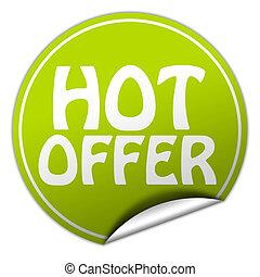 hot offer round green sticker on white background