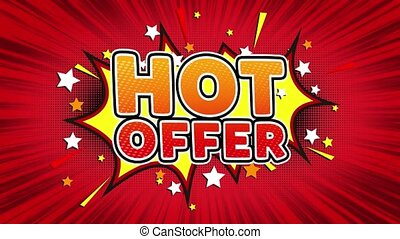 Hot Offer Text Pop Art Style Comic Expression.
