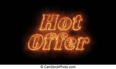 Hot Offer Word Hot Animated Burning Realistic Fire Flame...