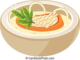 Onion Soup in a Bowl. Vector Illustration