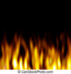 Hot firey flames over a black background